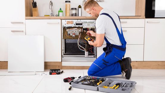 A dishwasher being repaired by a professional