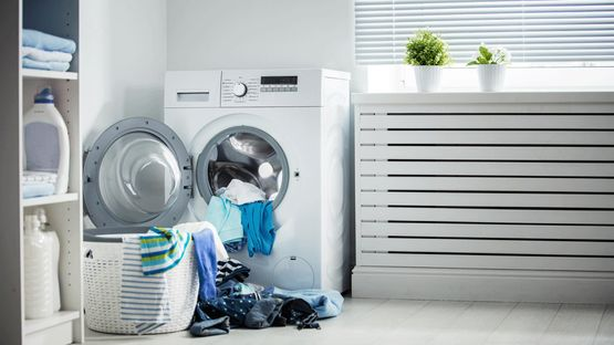 A new washing machine that is being loading